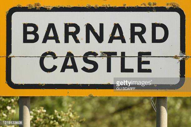 A road sign is pictured on the outskirts of Barnard Castle less than 30 miles southwest of Durham north east England on May 25 a popular tourist...