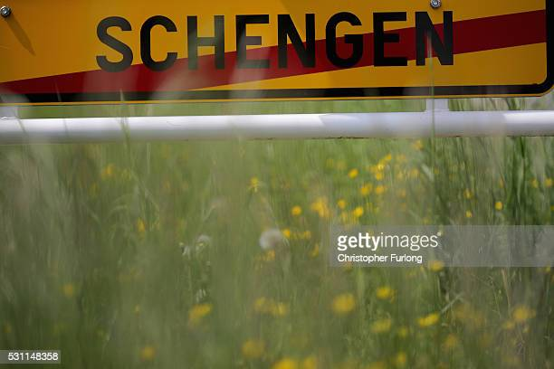 A road sign marks the border of the town of Schengen where the 1985 European Schengen Agreement was signed on May 11 2016 in Schengen Luxembourg The...