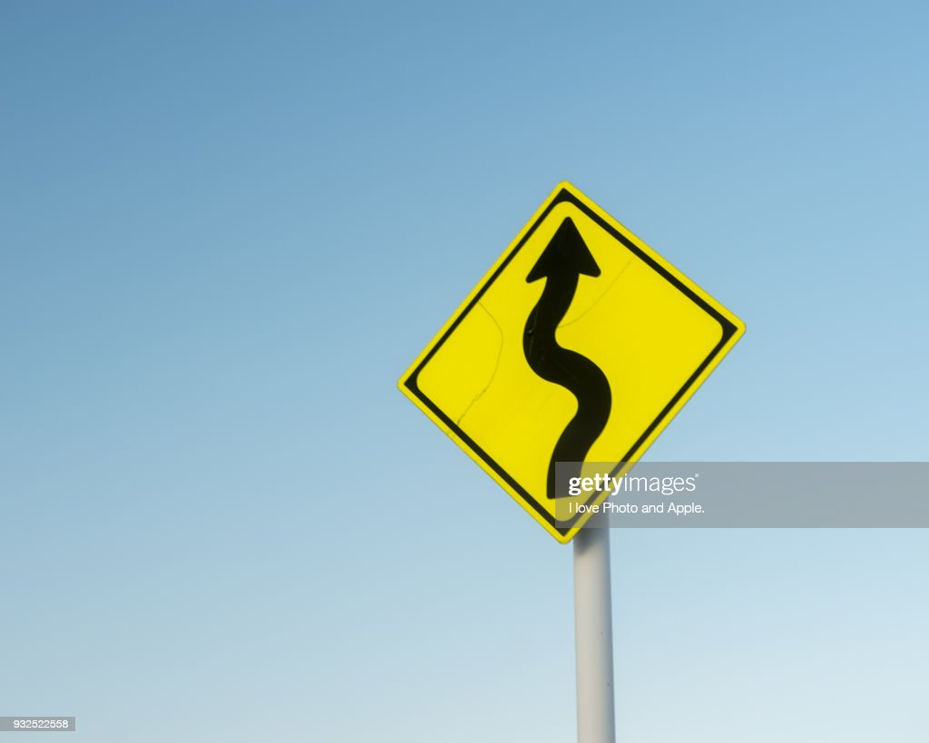 Road sign, Meandering attention : Stock Photo