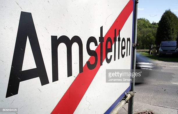 A road sign of Amstetten the town where a father imprisoned his daughter for 24 years and had seven children with her seen on May 2 2008 in Amstetten...