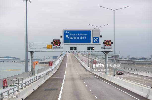 A road sign of Zhuhai Macao direction seen on the way to Hong Kong port from Tung Chung Chief Executive Carrie Lam said on Monday that all border...