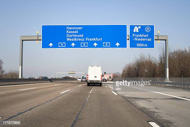 Road sign on german autobahn A5