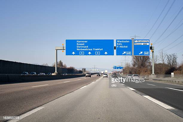 Road sign on german autobahn A5 - traffic information system