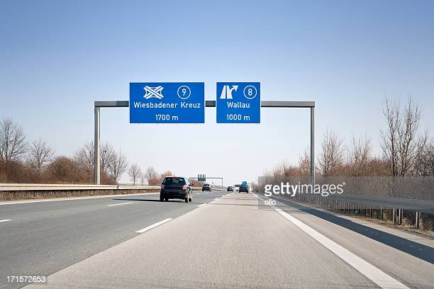 Road sign on german autobahn A66