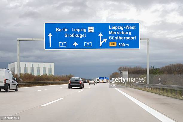 Road sign on german autobahn - next exit Leipzig-West