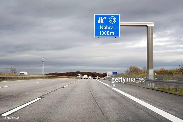 Road sign on german autobahn - next exit Nohra