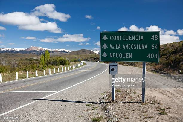 Road sign on the famous Ruta 40