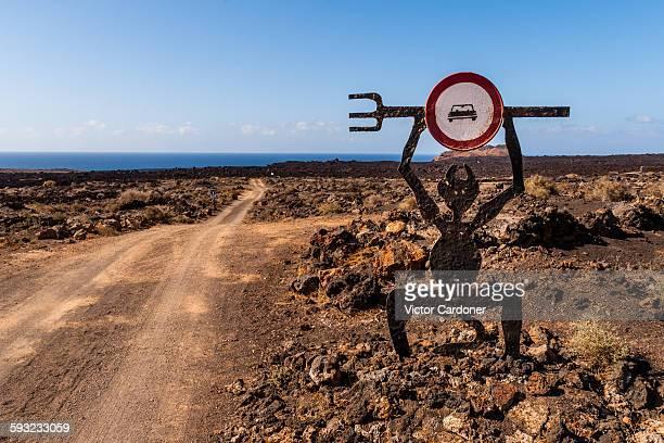road sign on timanfaya national park, lanzarote - timanfaya national park stock pictures, royalty-free photos & images