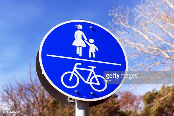 road sign: only for pedestrians and cyclists - pedestrian stock pictures, royalty-free photos & images