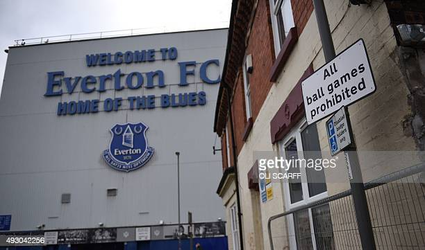 Road sign outside Goodison Park stadium prohibiting ball games is seen ahead of the English Premier League football match between Everton and...