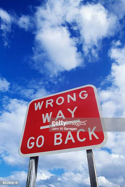 road sign - wrong way stock pictures, royalty-free photos & images