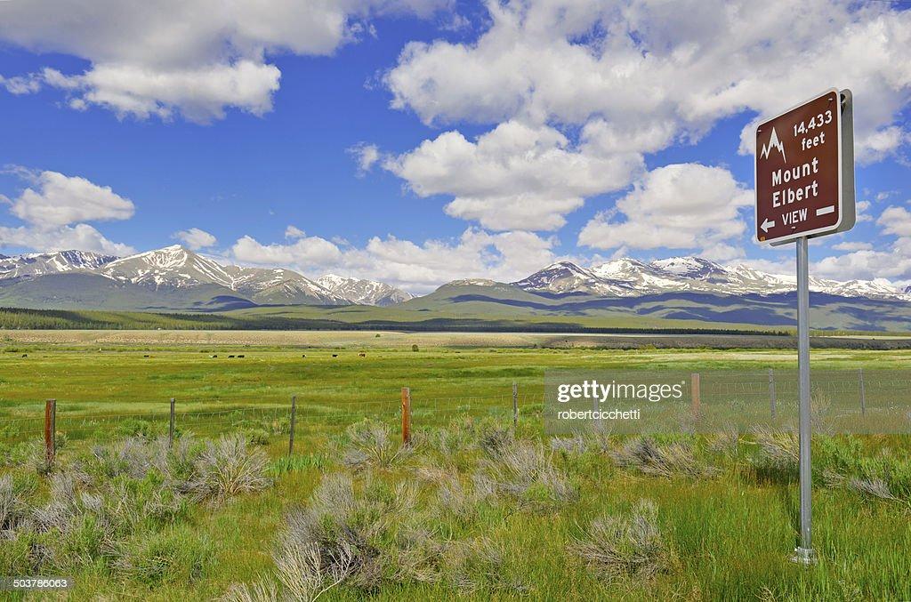 Road Sign Pointing to Mount Elbert, Colorado : Stock Photo