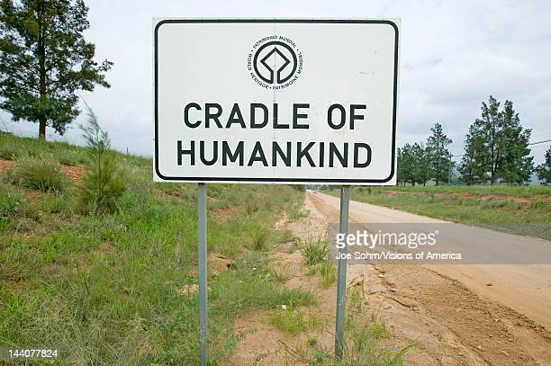 Road sign reads Cradle of Humankind, a World Heritage Site in Gauteng Province, South Africa