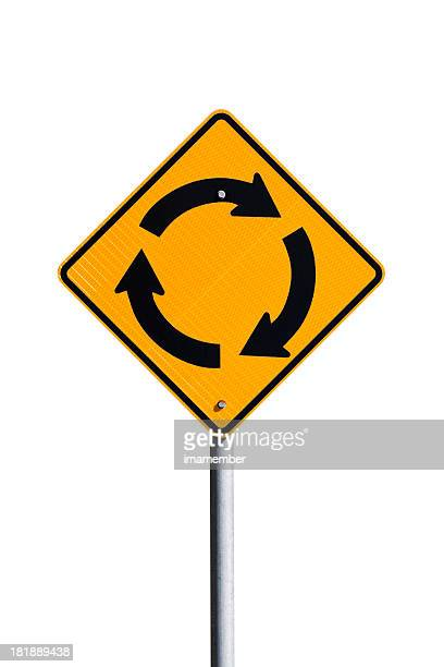 sinal de estrada da rotatória isolada no fundo branco, com espaço para texto - placa de estrada - fotografias e filmes do acervo