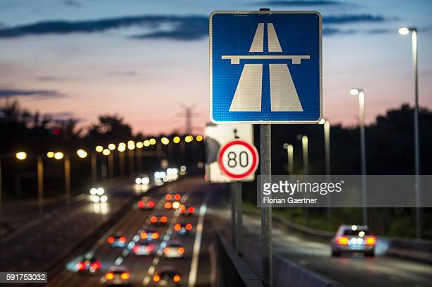 A road sign shows the start of the highway on August 17 2016 in Berlin Germany