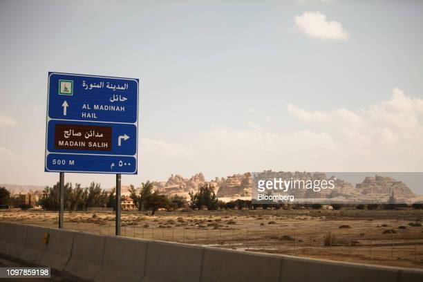 A road sign stands near the ancient heritage site at Al Ula Saudi Arabia on Sunday Feb 10 2019 Saudi Arabia's Crown Prince Mohammed Bin Salman...