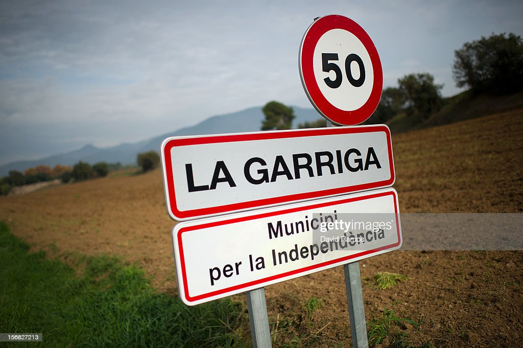 A road sign that it reads 'Municipality for the Independence' is send under the name of the village of La Garriga, a small town near Barcelona declared last September 26 'Free Catalan Territory' by the town council, on November 22, 2012 in Barcelona, Spain. Over 5 million Catalans will be voting in Parliamentary elections on November 25, with opinion polls showing majority support for pro-independence parties.