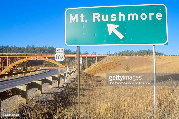 Road Sign to Mount Rushmore National Monument Near Rapid City South Dakota