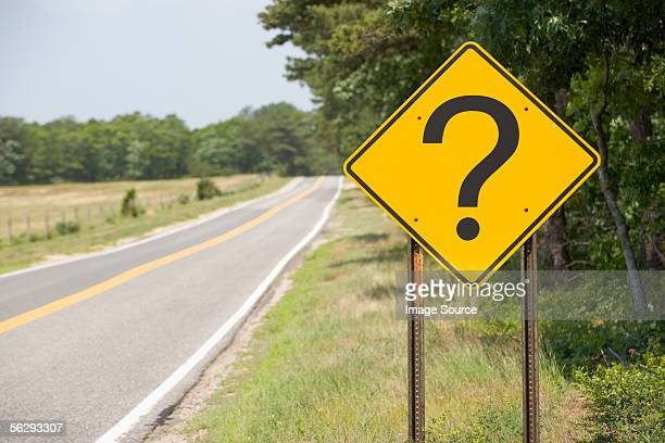 Road sign with a question mark
