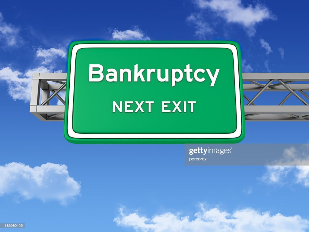 Road Sign with BANKRUPTCY and Sky : Stock Photo