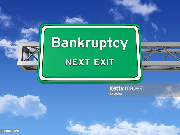Road Sign with BANKRUPTCY and Sky