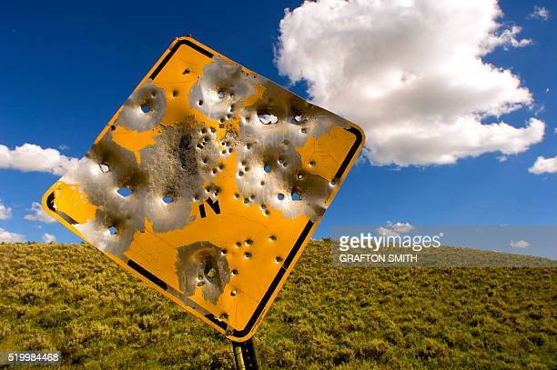 road sign with bullet holes - bullet hole stock pictures, royalty-free photos & images