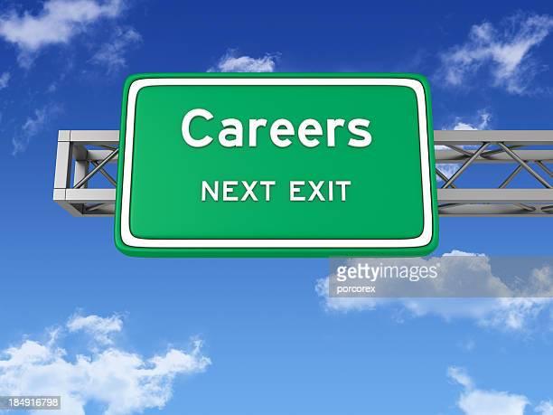 Road Sign mit Karrieren und Sky