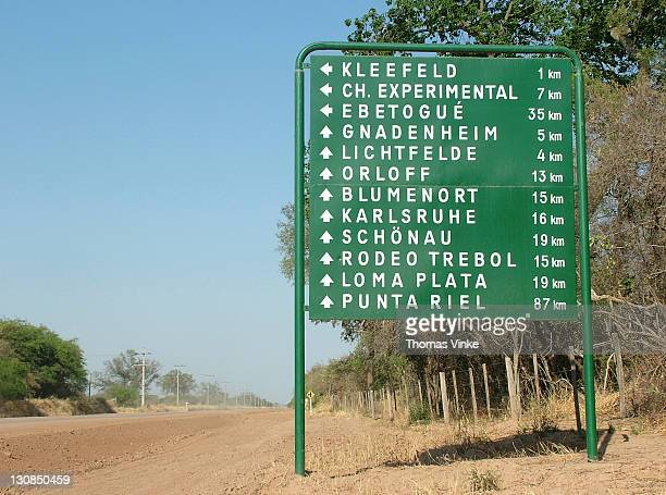 Road sign with German villages, Mennonite colony, Filadelfia, Fernheim, Gran Chaco, Paraguay
