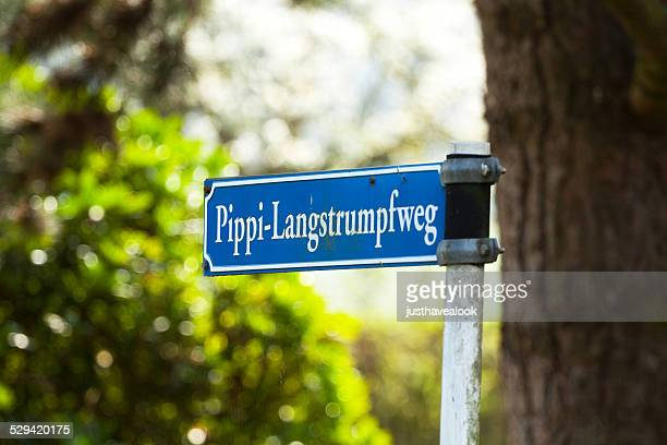 road sign with name pippi langstrumpf - pippi longstocking stock pictures, royalty-free photos & images