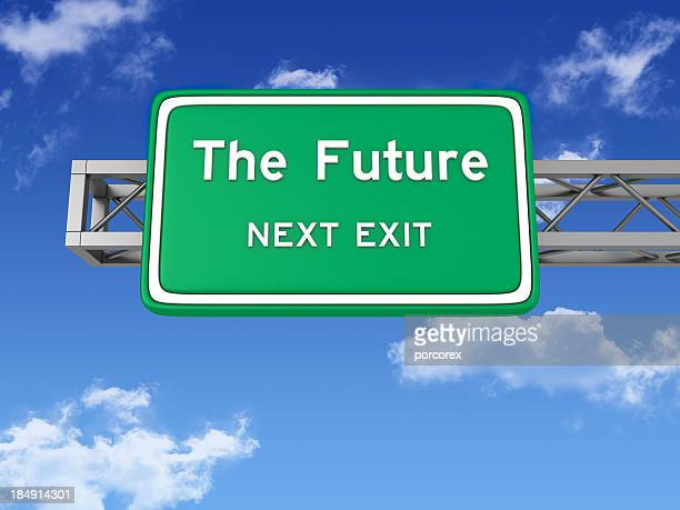 road sign with the future and sky - road sign stock pictures, royalty-free photos & images