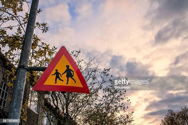 Road signs children cross,  crosswalk sign