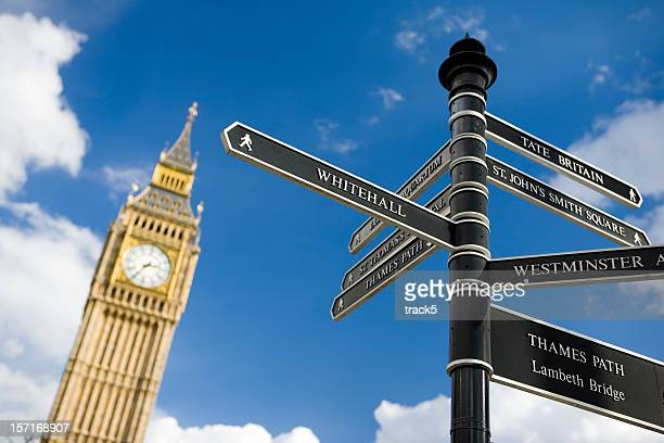 Road signs in London, with clock tower in background.