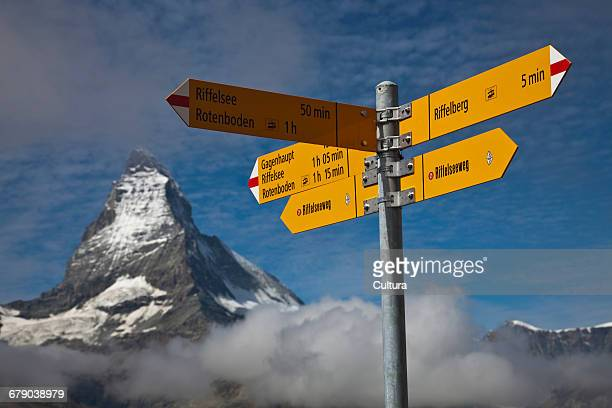 Road signs, Matterhorn, Swiss Alps, Switzerland