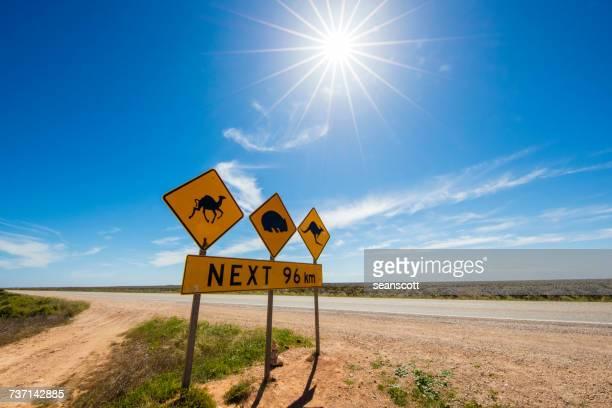 Road signs on the Nullarbor Plain, Western Australia, Australia