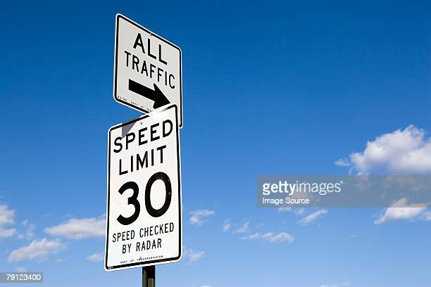 road signs - speed limit sign stock photos and pictures