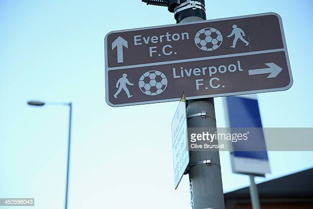 Road signs prior to the Barclays Premier League match between Everton and Stoke City at Goodison Park on November 30 2013 in Liverpool England