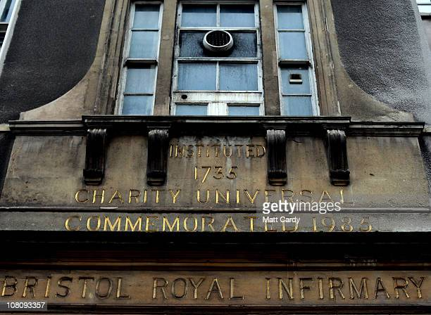 Road soot gathers on the front entrance of the Bristol Royal Infirmary, where parts of the hospital date back to 1735, on January 17, 2011 in...