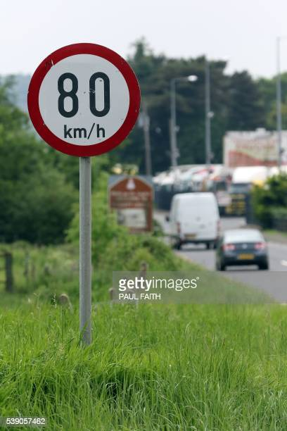 Road speed sign changes to Kilometres per hour between Newry in Northern ireland and Dundalk in The Republic of Ireland on June 7 2016 The border...