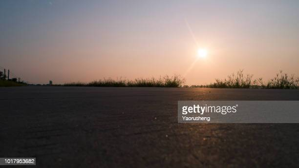 road surface in sunset