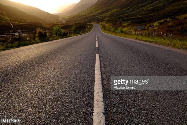 Road through Glen Docherty at dusk