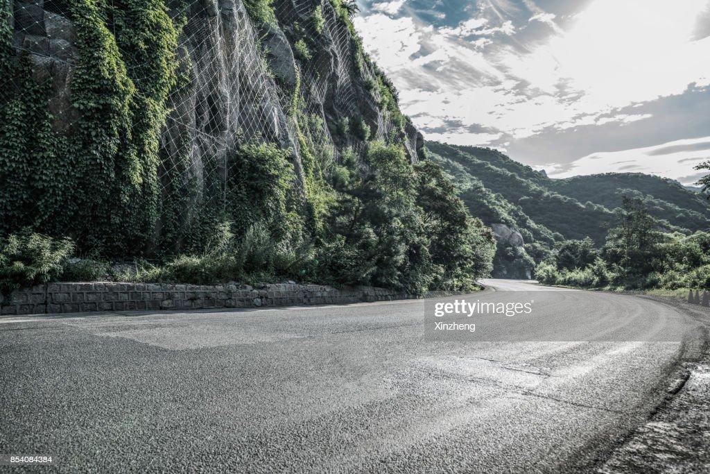Road Through Mountains, Beijing, China : Stock Photo