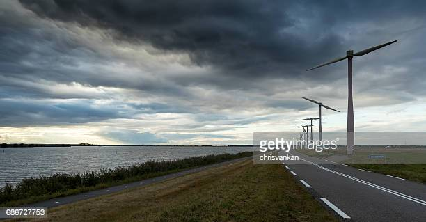 Road through rural landscape, Zeewolde, flevoland, netherlands