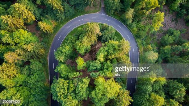 Straße durch den Wald - Luftbild