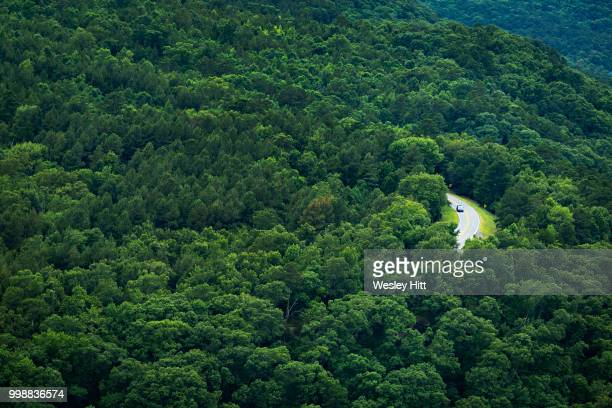 road through the ozark mountain forests of arkansas on a summer day - southern usa stock photos and pictures