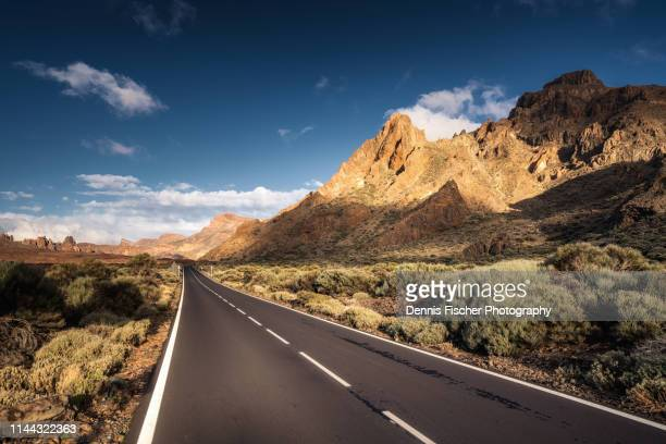 road through volcanic landscape - pico de teide stock pictures, royalty-free photos & images