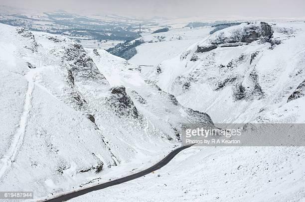 Road through Winnats Pass in winter