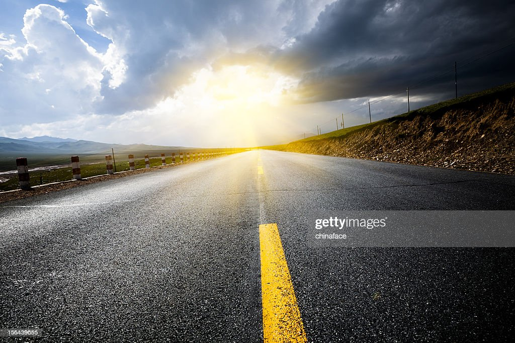 road thunderstorm : Stock Photo