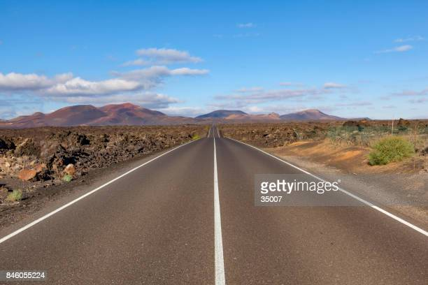 road timanfaya volcano, lanzarote island, canary islands