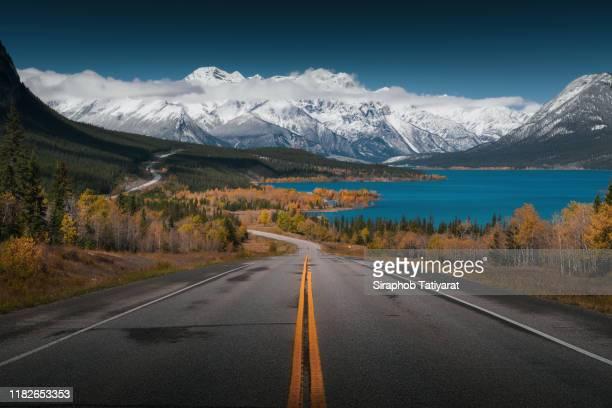 road to abraham lake, canada - montañas rocosas canadienses fotografías e imágenes de stock