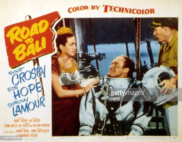 Road To Bali lobbycard Dorothy Lamour Bob Hope Bing Crosby 1952